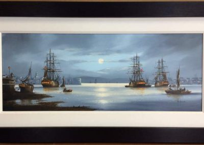 Ships in the Moonlight at Portsmouth Harbour